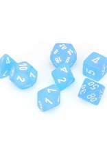 Chessex Chessex: Poly 7 Set - Frosted - Caribbean Blue w/ White