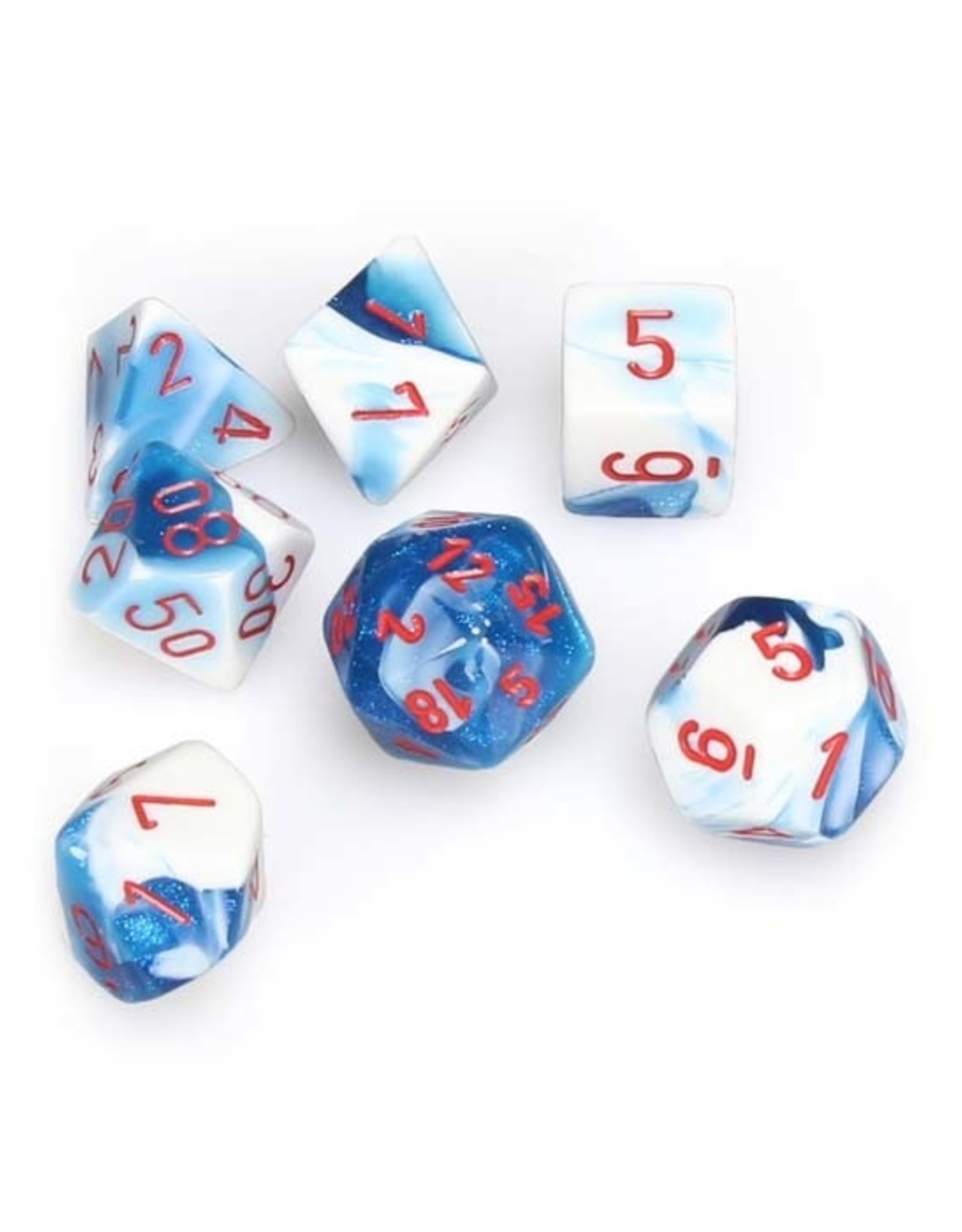 Chessex Chessex: Poly 7 Set - Gemini - Astral Blue-White w/ Red