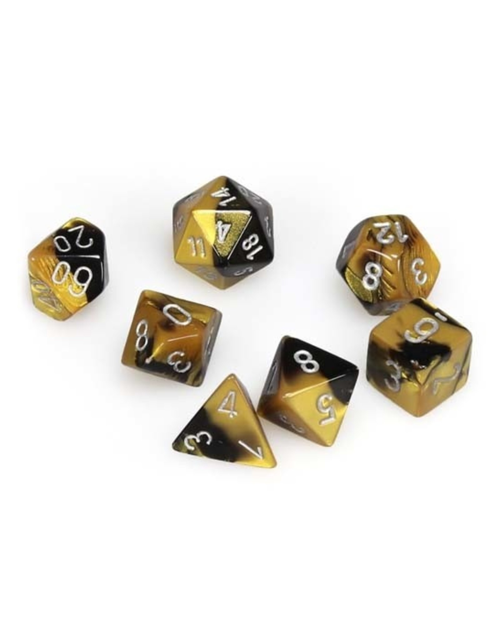 Chessex Chessex: Poly 7 Set - Gemini - Black Gold w/ Silver
