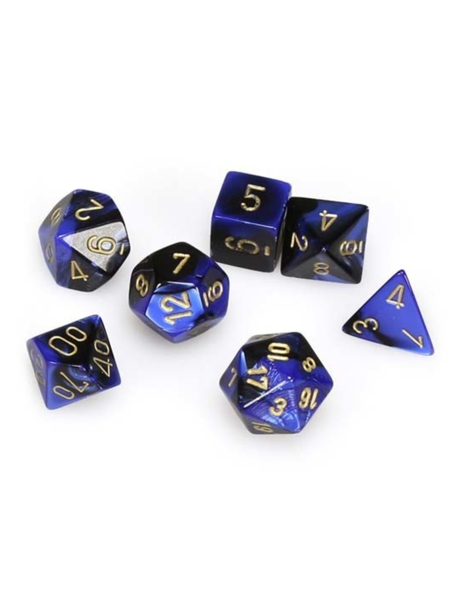 Chessex Chessex: Poly 7 Set - Gemini - Black-Blue w/ Gold