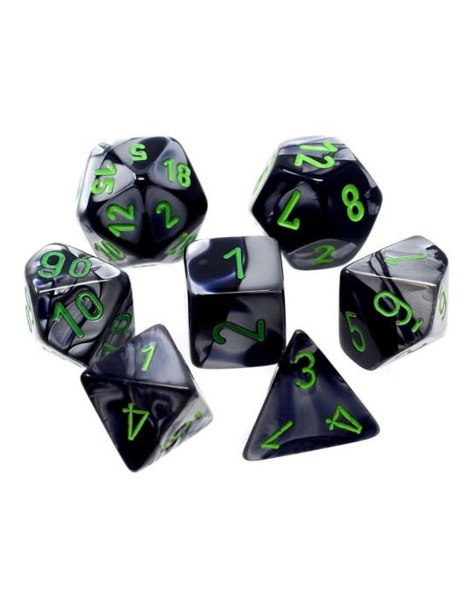 Chessex Chessex: Poly 7 Set - Gemini - Black-Grey w/ Green