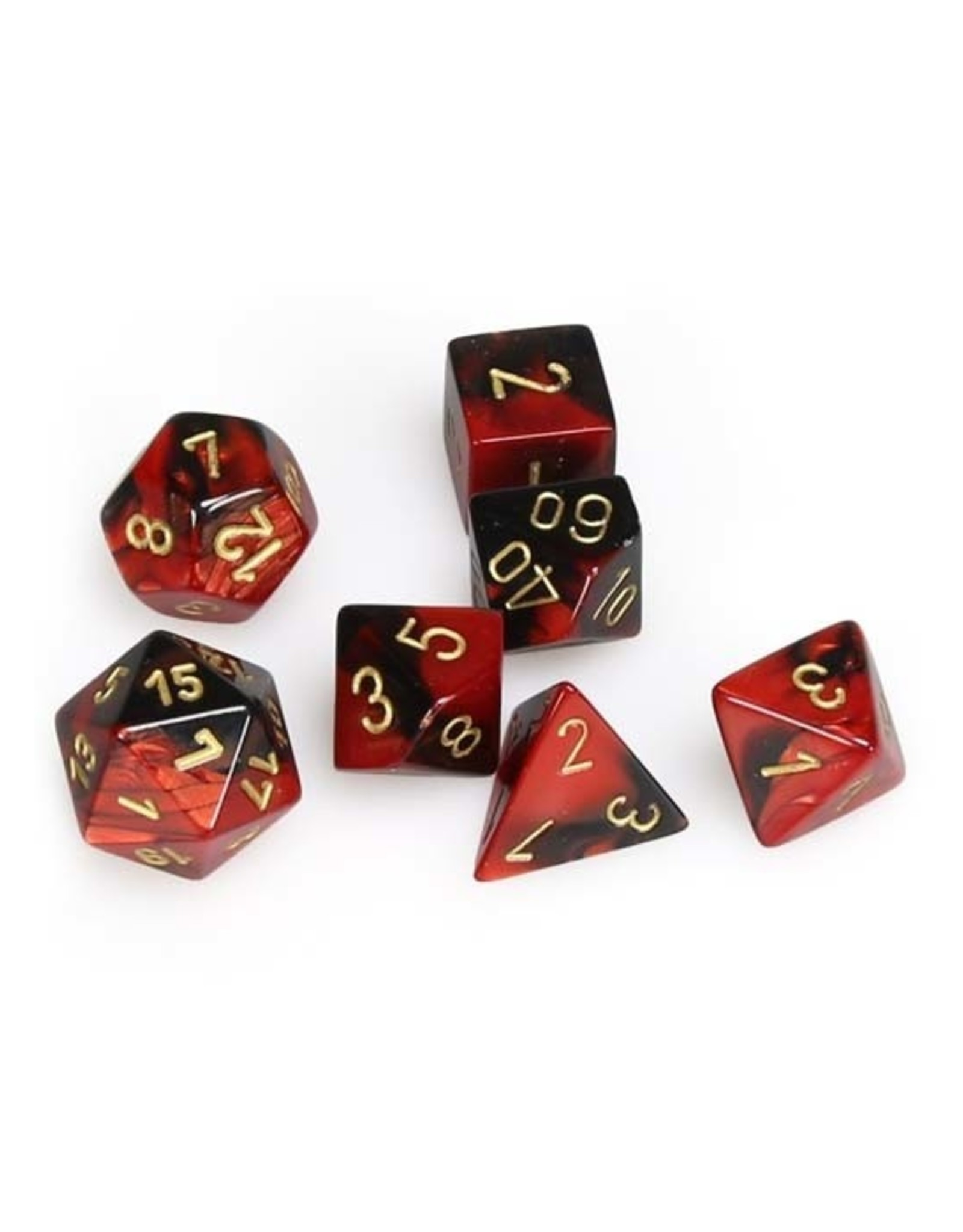 Chessex Chessex: Poly 7 Set - Gemini - Black-Red w/ Gold