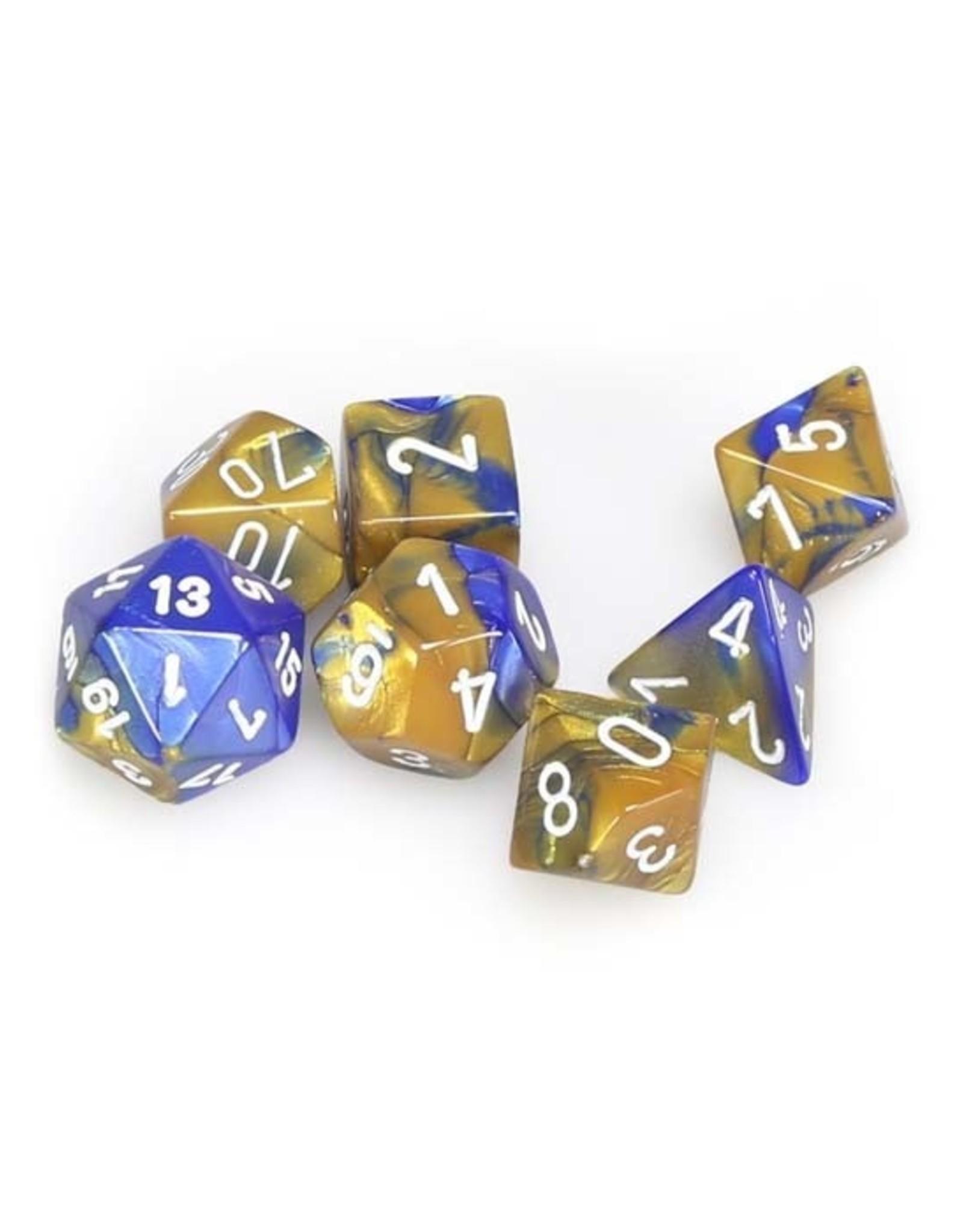 Chessex Chessex: Poly 7 Set - Gemini - Blue-Gold w/ White