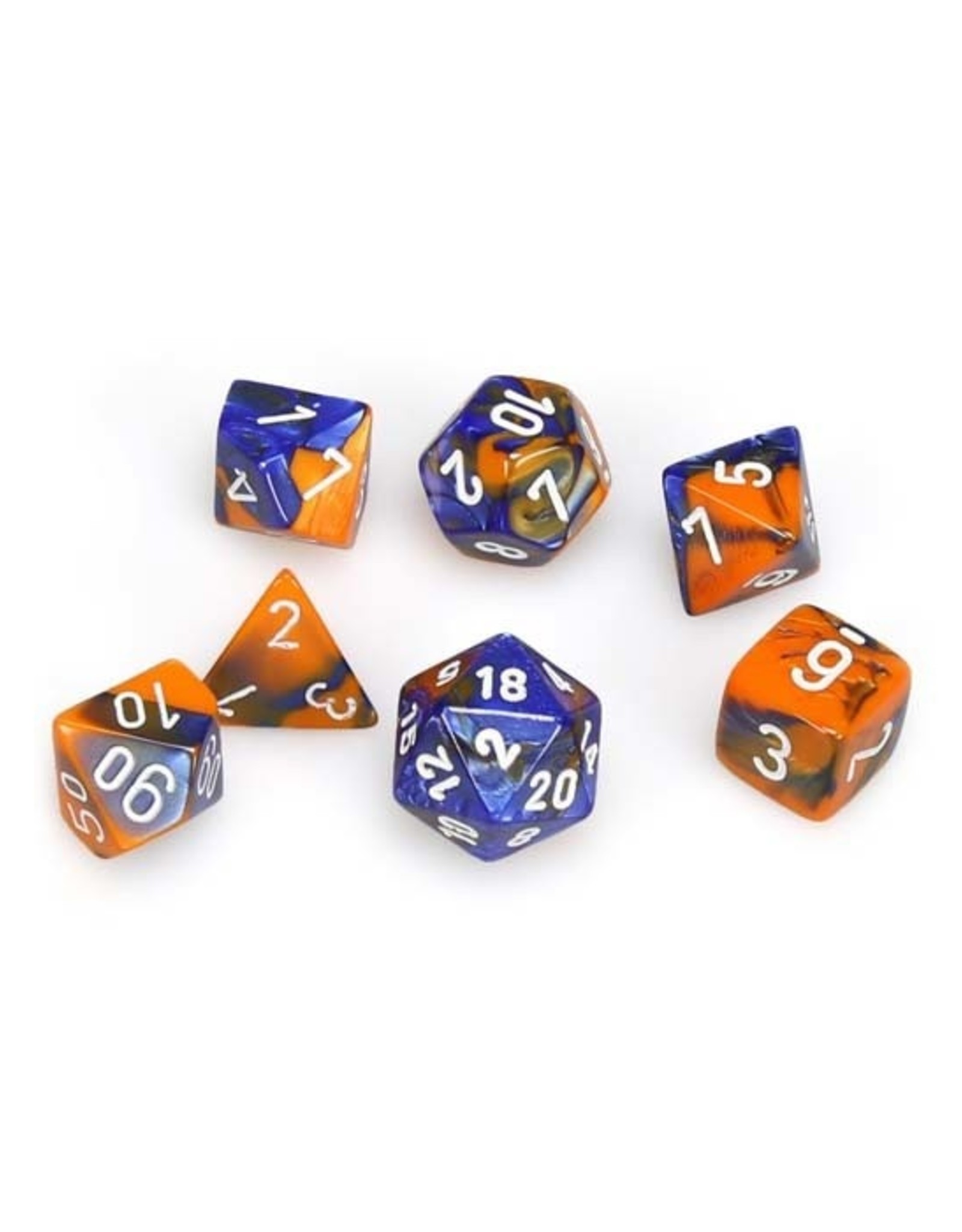 Chessex Chessex: Poly 7 Set - Gemini - Blue-Orange w/ White
