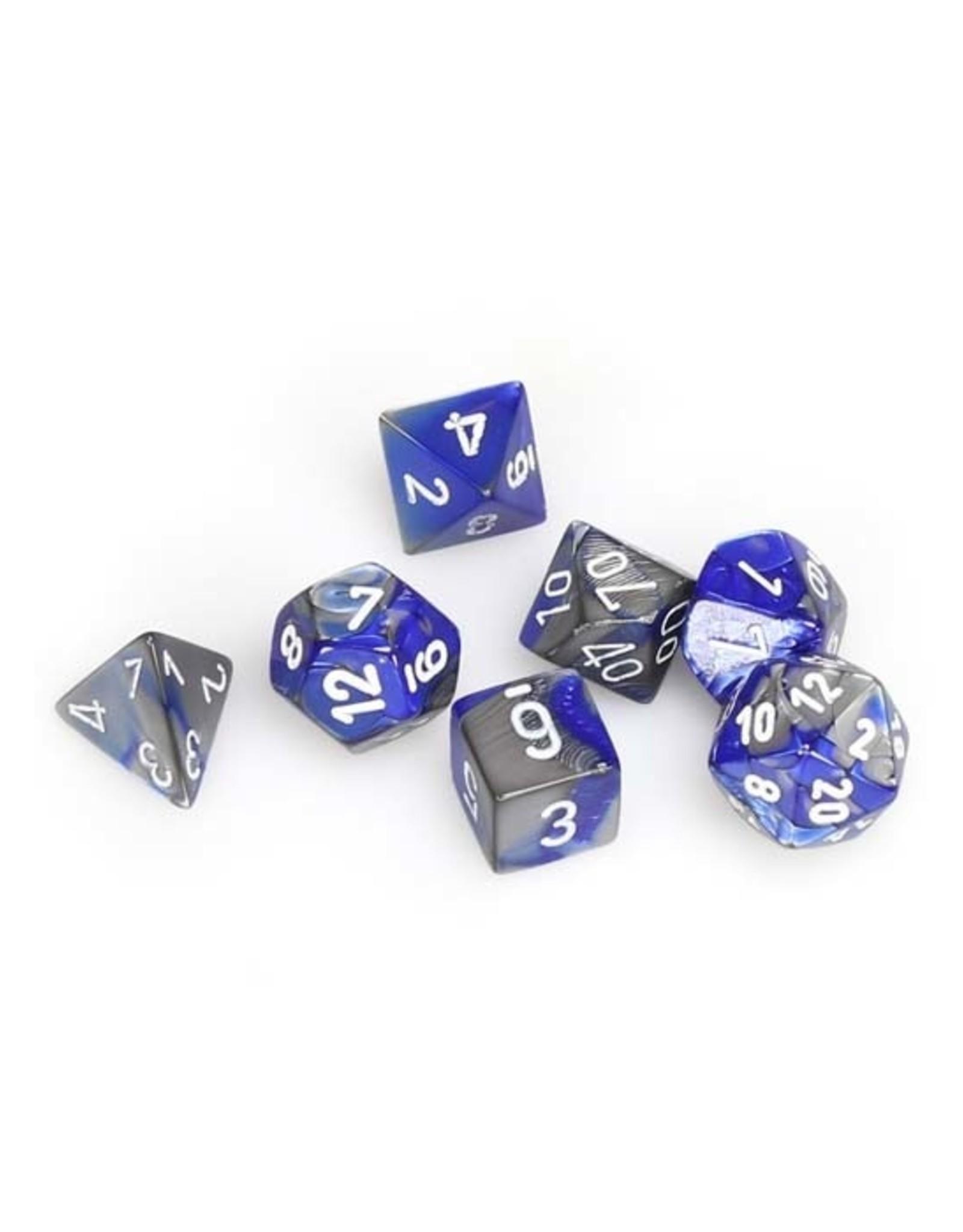 Chessex Chessex: Poly 7 Set - Gemini - Blue-Steel w/ White