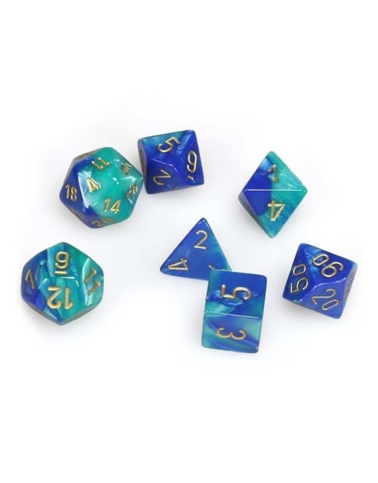 Chessex Chessex: Poly 7 Set - Gemini - Blue-Teal w/ Gold