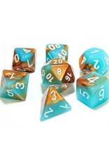 Chessex Chessex: Poly 7 Set - Gemini - Copper-Turquoise w/ White