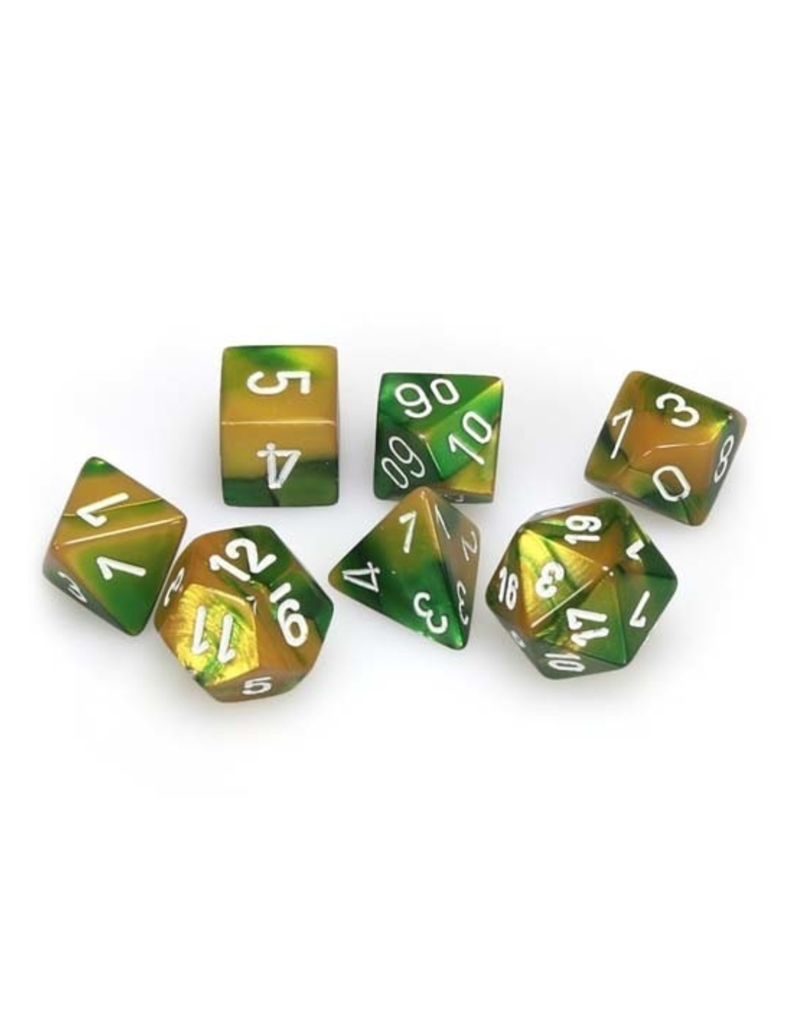 Chessex Chessex: Poly 7 Set - Gemini - Gold-Green w/ White