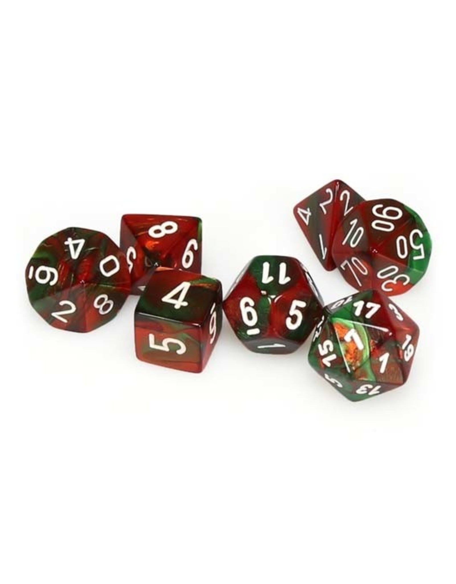 Chessex Chessex: Poly 7 Set - Gemini - Green-Red w/ White