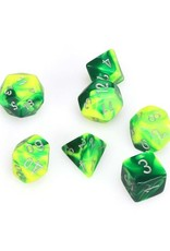 Chessex Chessex: Poly 7 Set - Gemini - Green-Yellow w/ Silver