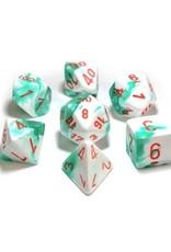 Chessex Chessex: Poly 7 Set - Gemini - Mint Green-White w/ Orange