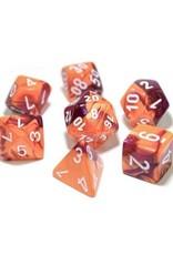Chessex Chessex: Poly 7 Set - Gemini - Orange-Purple w/ White