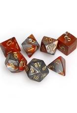 Chessex Chessex: Poly 7 Set - Gemini - Orange-Steel w/ Gold