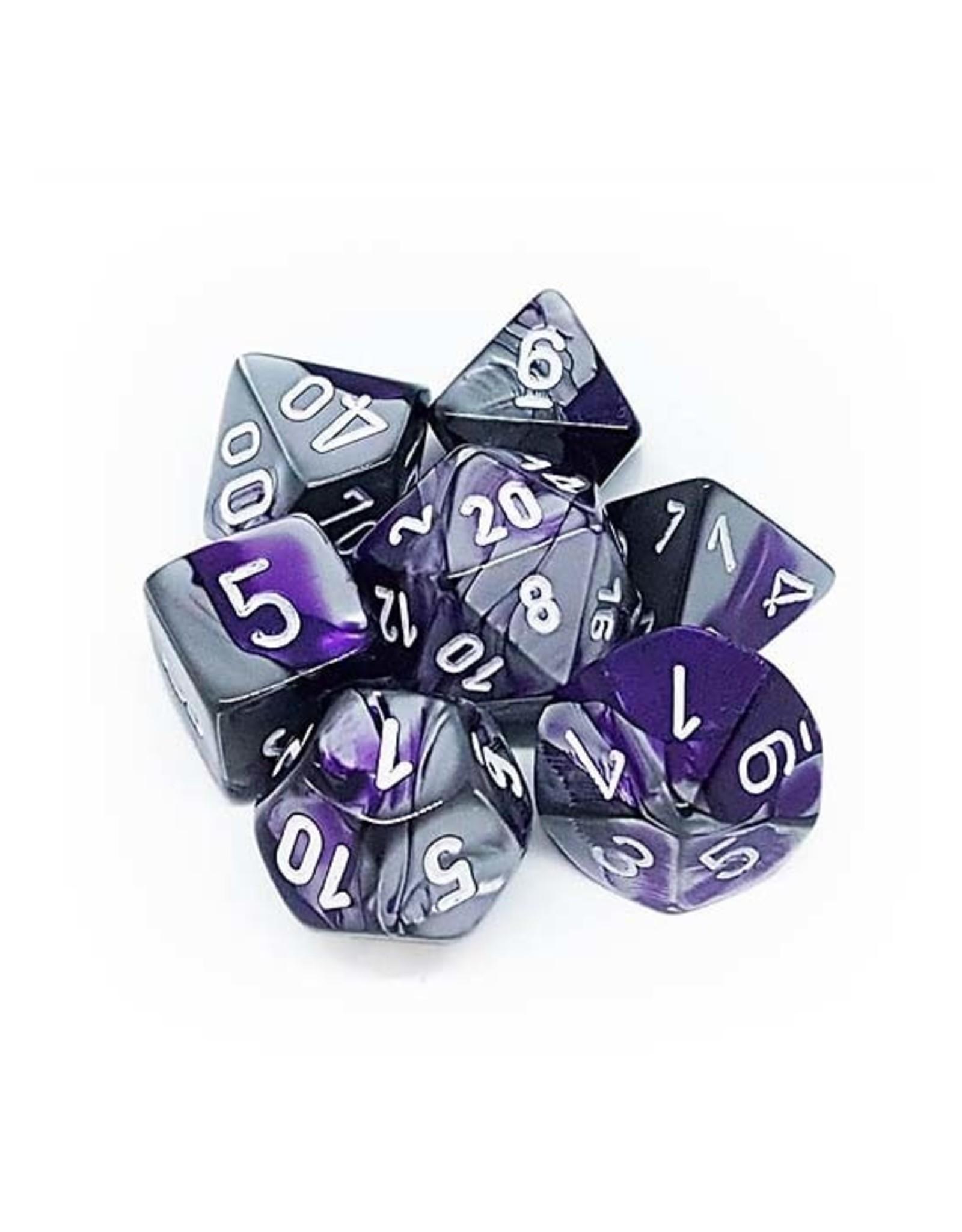 Chessex Chessex: Poly 7 Set - Gemini - Purple-Steel w/ White