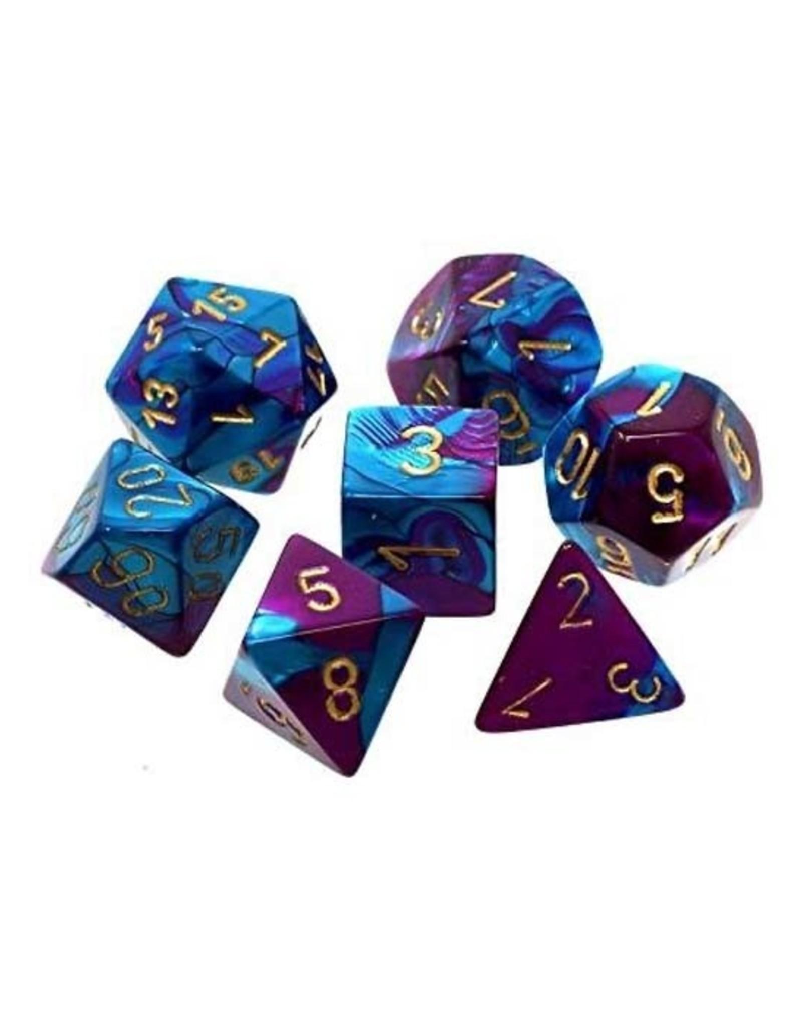Chessex Chessex: Poly 7 Set - Gemini - Purple-Teal w/ Gold