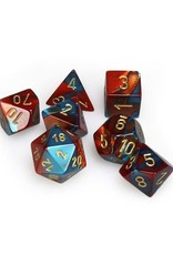Chessex Chessex: Poly 7 Set - Gemini - Red-Teal w/ Gold