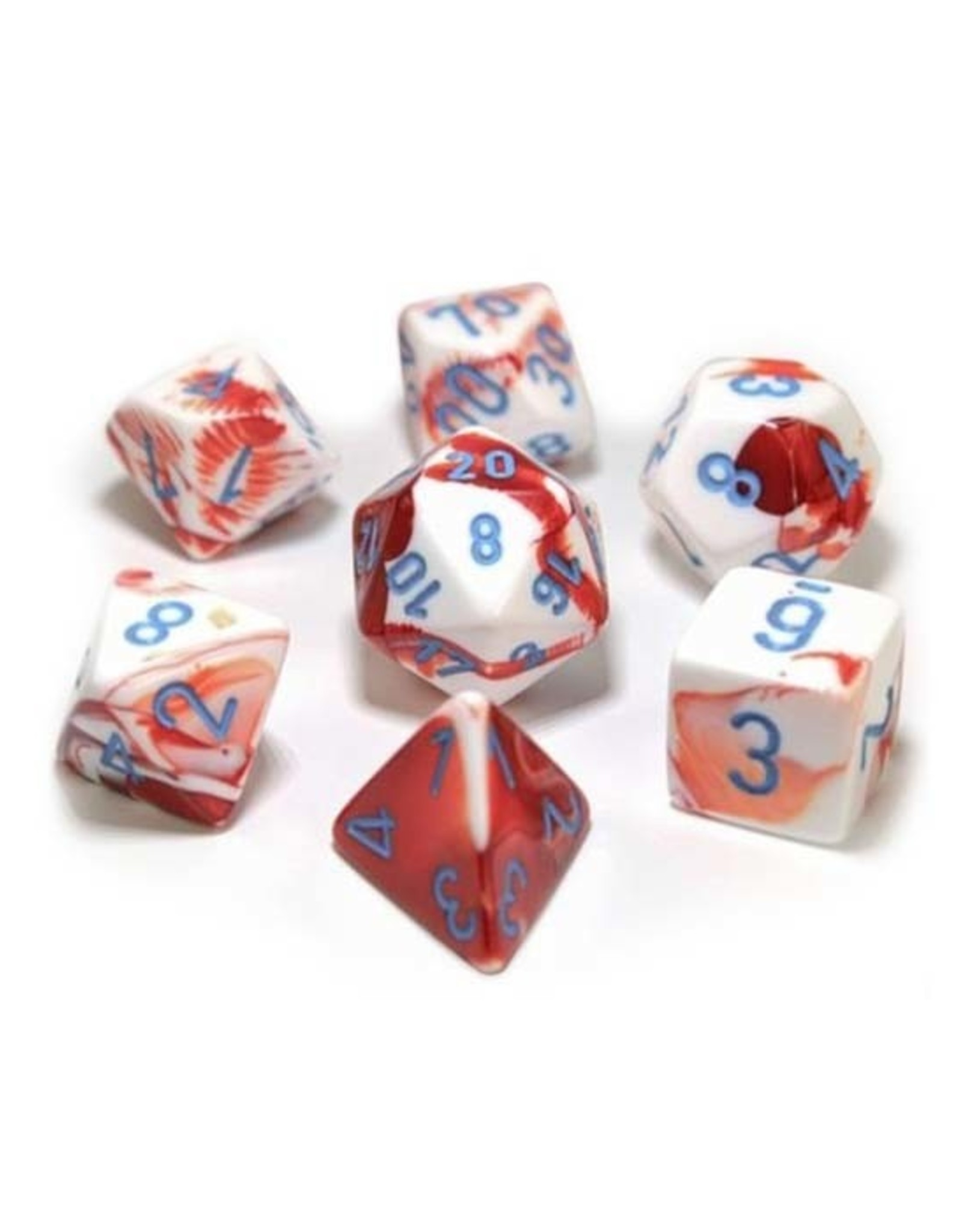 Chessex Chessex: Poly 7 Set - Gemini - Red-White w/ Blue