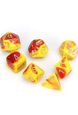 Chessex Chessex: Poly 7 Set - Gemini - Red-Yellow w/ Silver