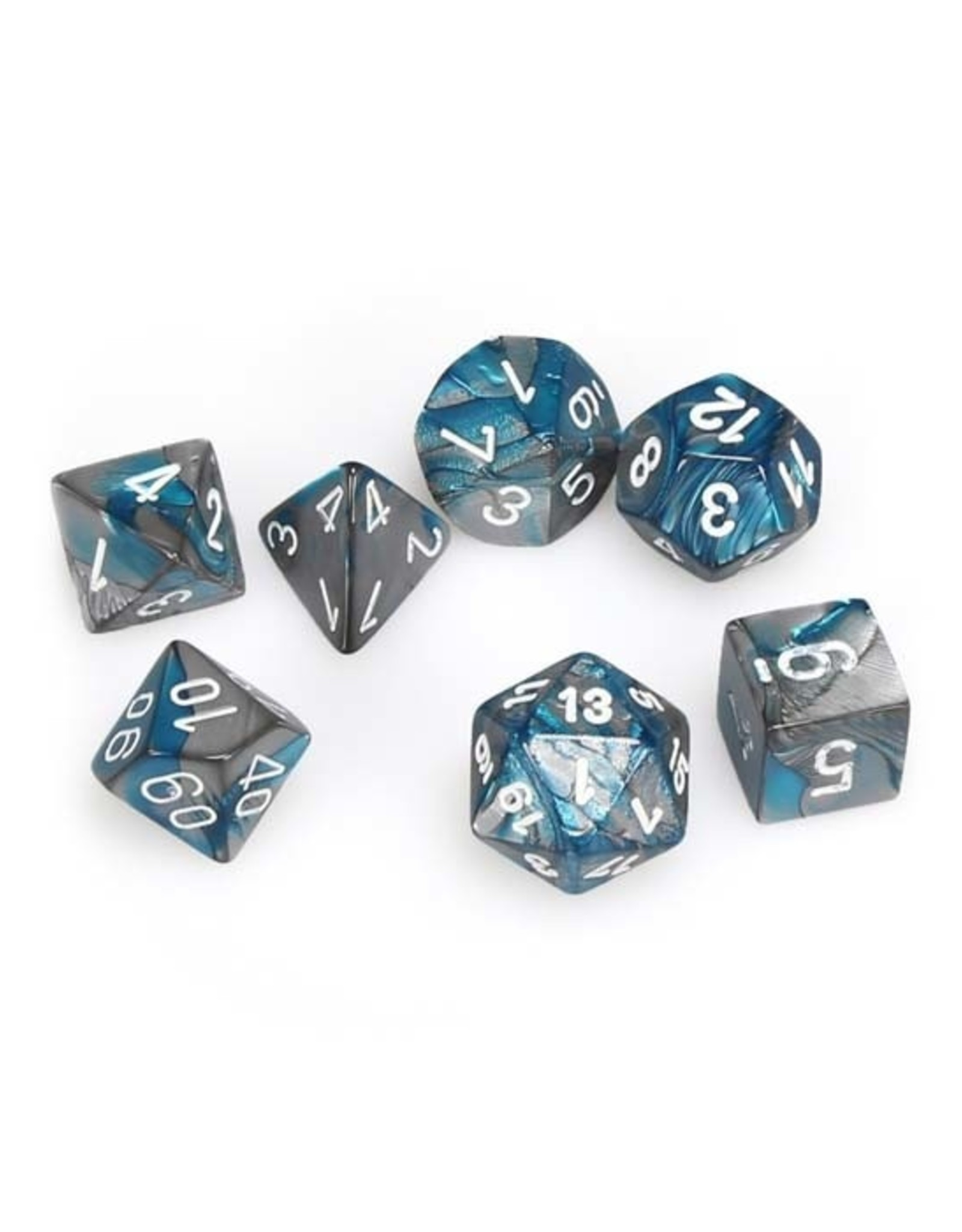 Chessex Chessex: Poly 7 Set - Gemini - Steel-Teal w/ White