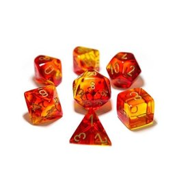 Chessex Chessex: Poly 7 Set - Gemini - Translucent Red-Yellow w/ Gold