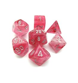 Chessex Chessex: Poly 7 Set - Ghostly Glow - Pink w/ Silver