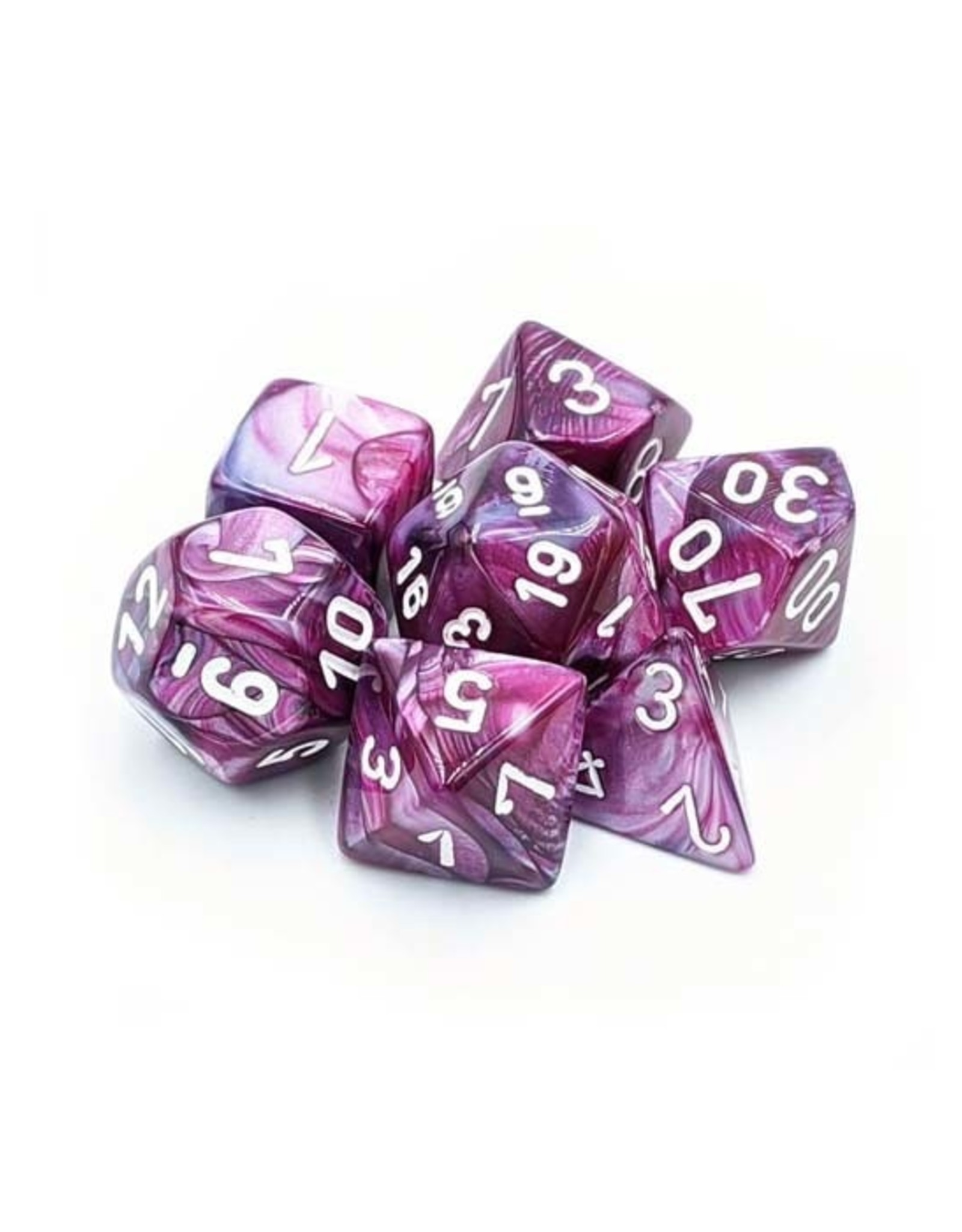 Chessex Chessex: Poly 7 Set - Lustrous - Amethyst w/ White
