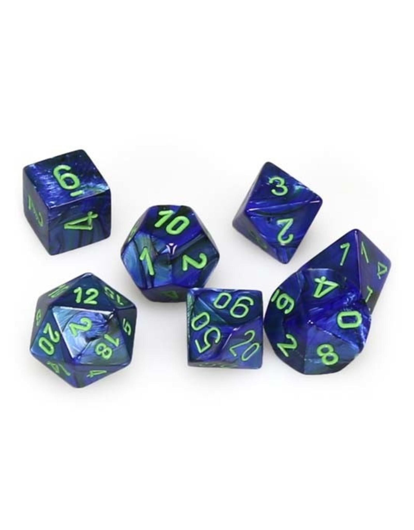 Chessex Chessex: Poly 7 Set - Lustrous - Dark Blue w/ Green