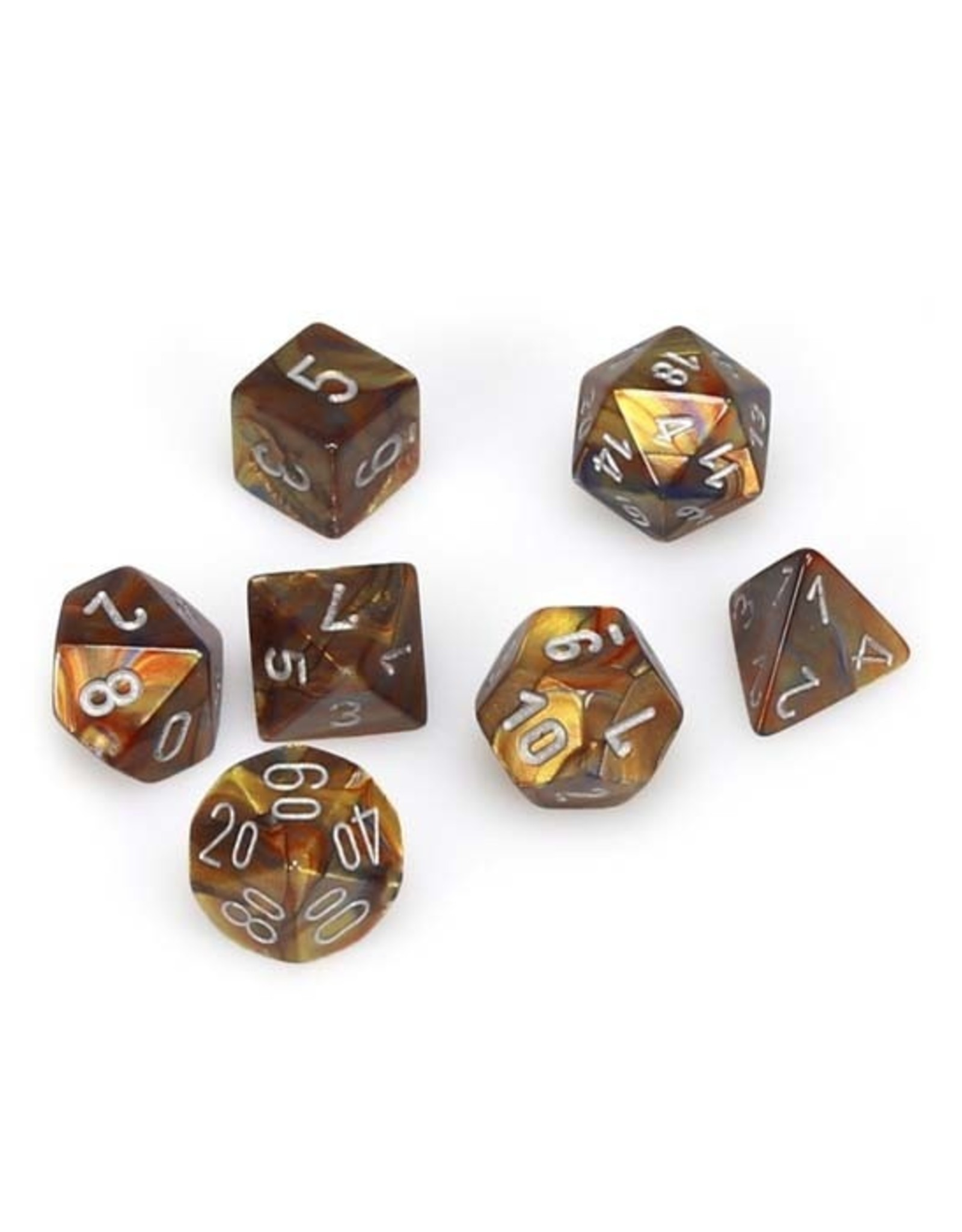 Chessex Chessex: Poly 7 Set - Lustrous - Gold w/ Silver