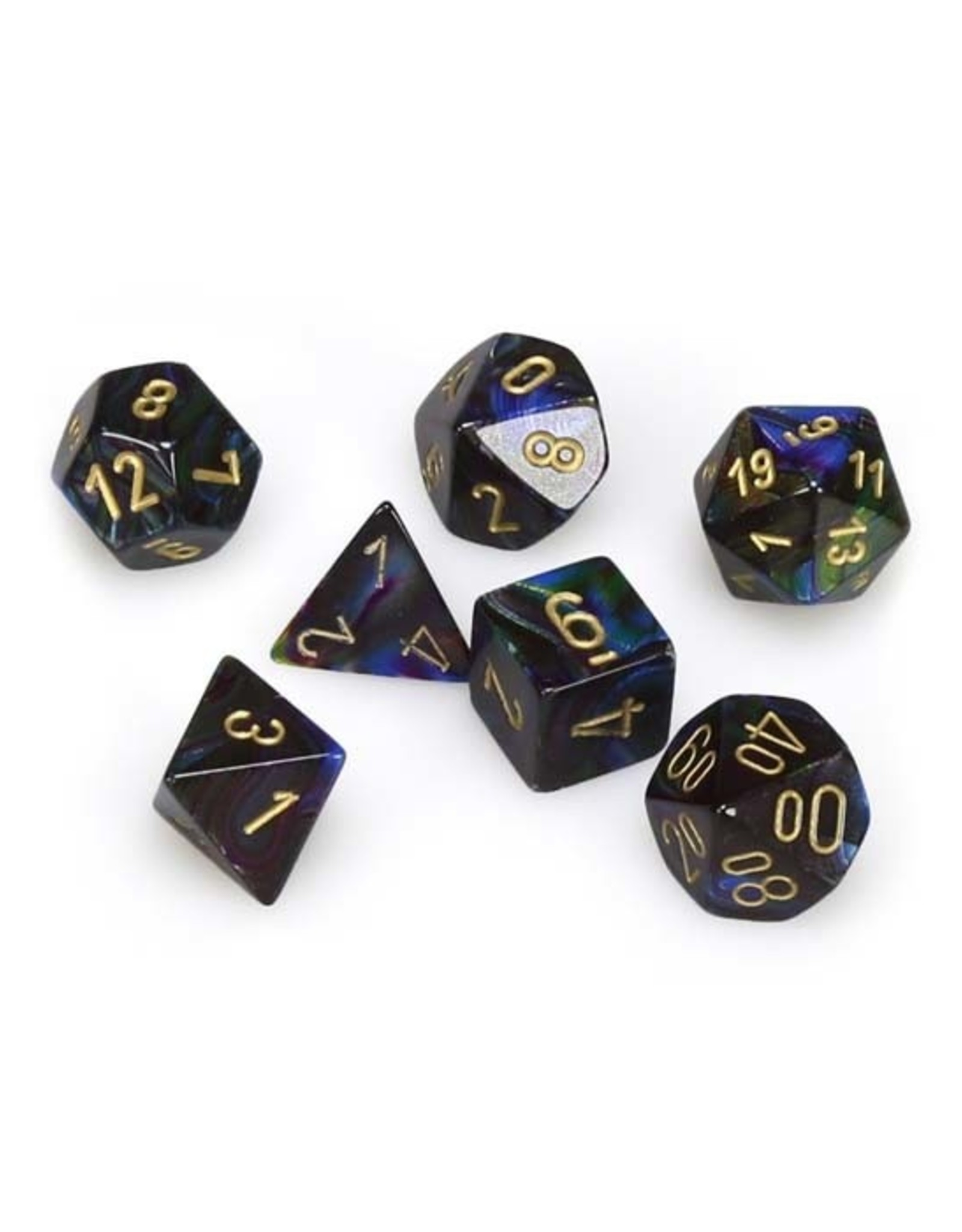 Chessex Chessex: Poly 7 Set - Lustrous - Shadow w/ Gold