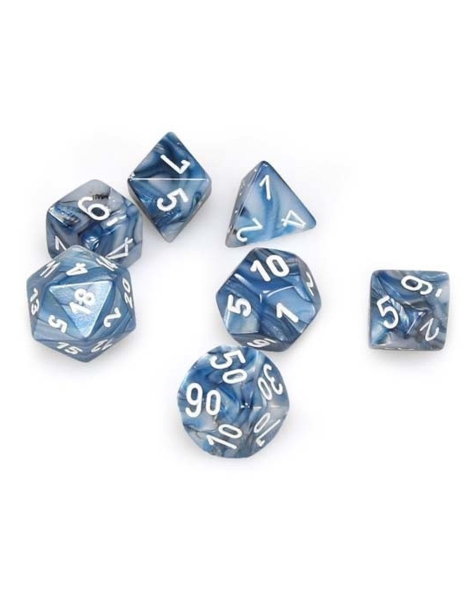 Chessex Chessex: Poly 7 Set - Lustrous - Slate w/ White