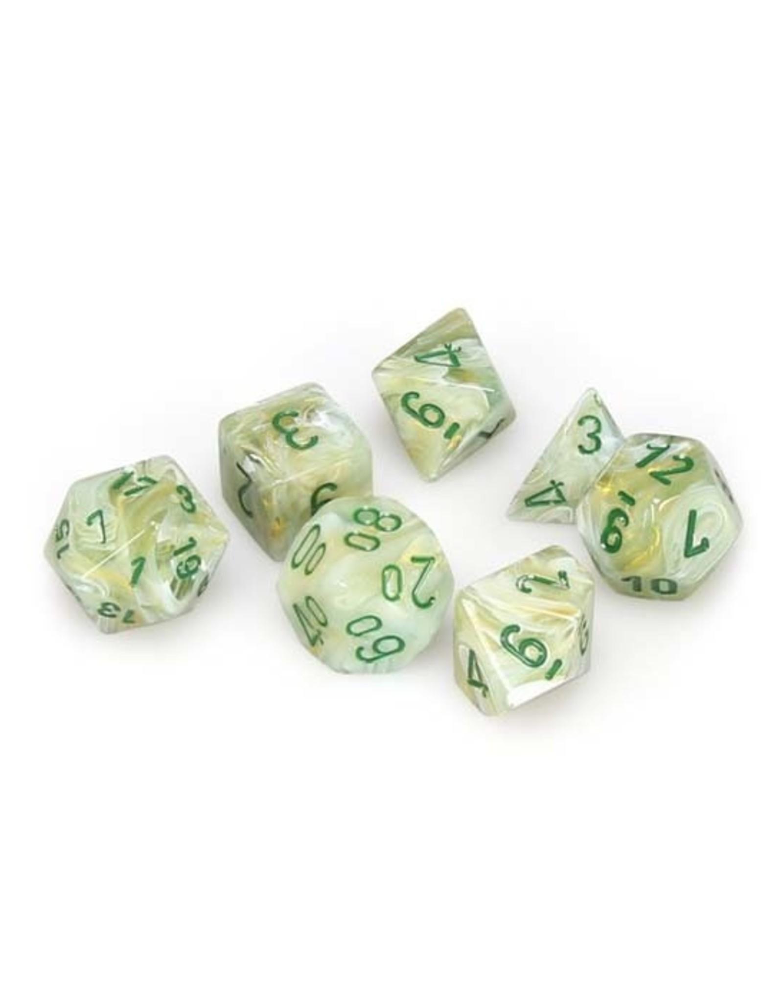 Chessex Chessex: Poly 7 Set - Marble - Green w/ Dark Green