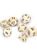 Chessex Chessex: Poly 7 Set - Marble - Ivory w/ Black