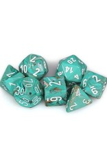 Chessex Chessex: Poly 7 Set - Marble - Oxi-Copper w/ White