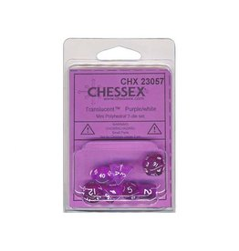 Chessex Chessex: Poly 7 Set - Mini - Translucent - Purple w/ White