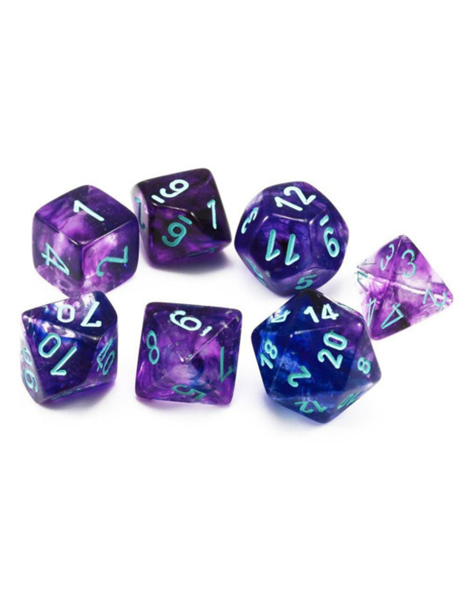 Chessex Chessex: Poly 7 Set - Nebula - Nocturnal w/ Blue