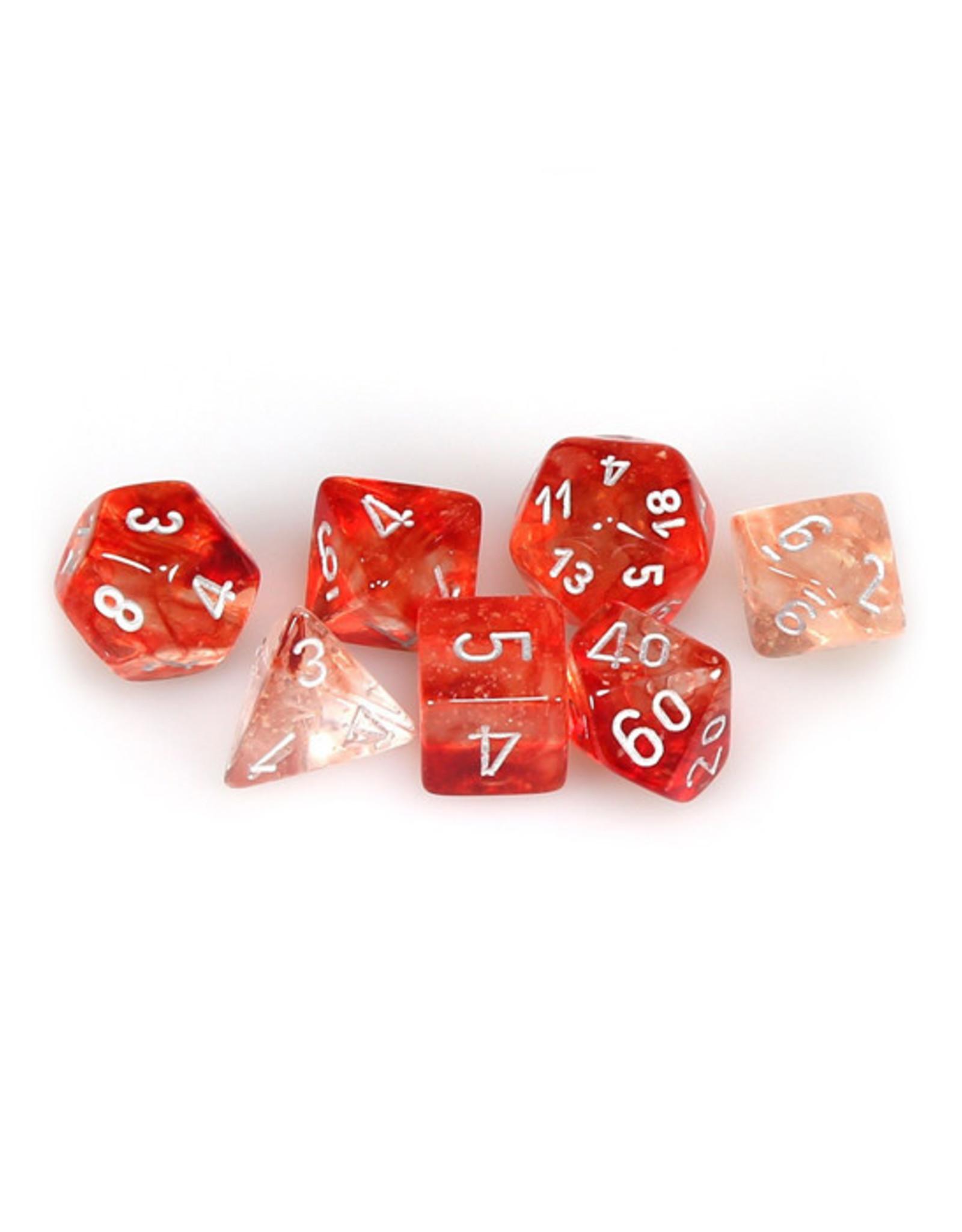 Chessex Chessex: Poly 7 Set - Nebula - Red w/ Silver