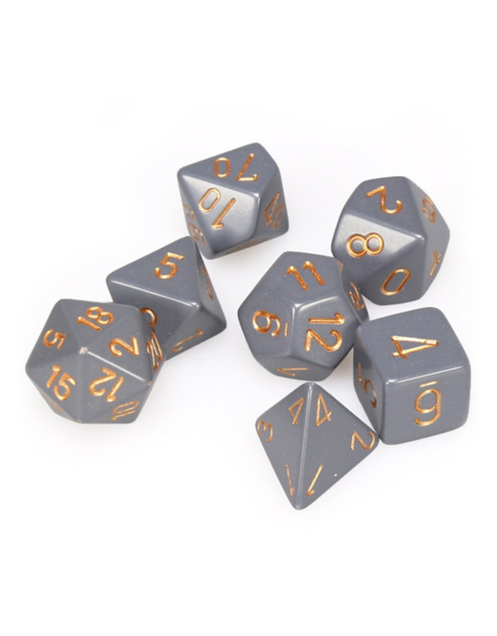 Chessex Chessex: Poly 7 Set - Opaque - Dark Grey w/ Copper