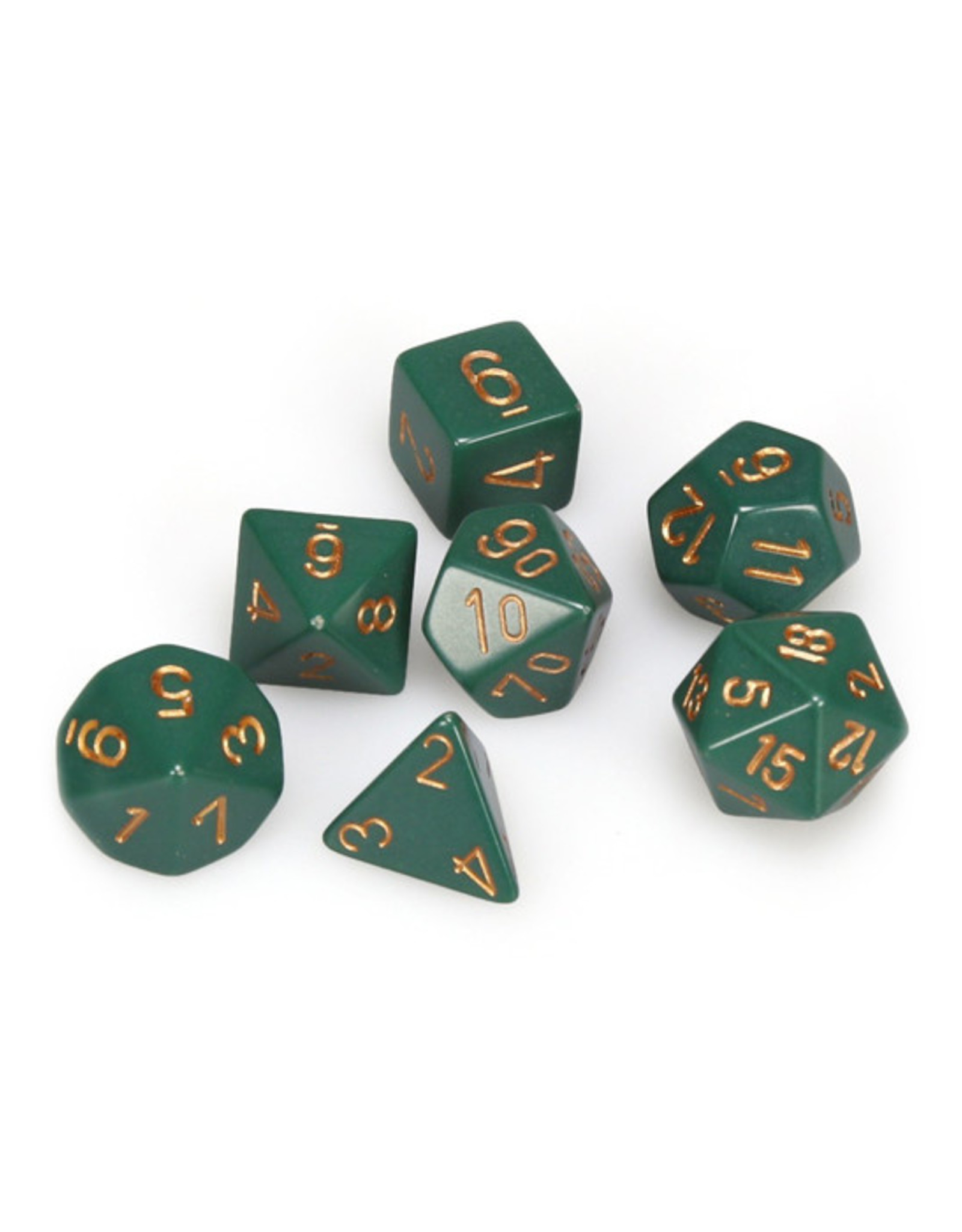 Chessex Chessex: Poly 7 Set - Opaque - Dusty Green w/ Copper