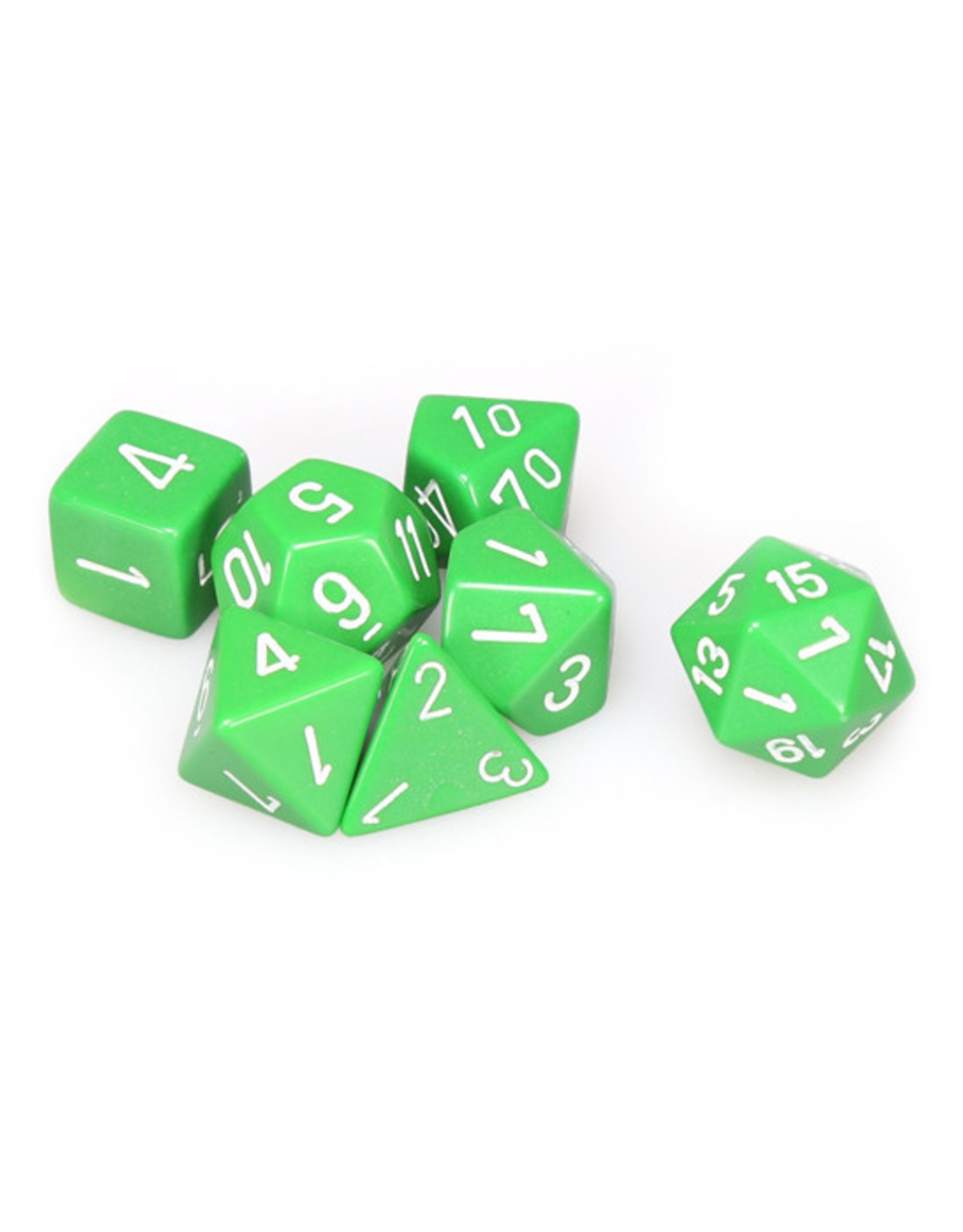 Chessex Chessex: Poly 7 Set - Opaque - Green w/ White
