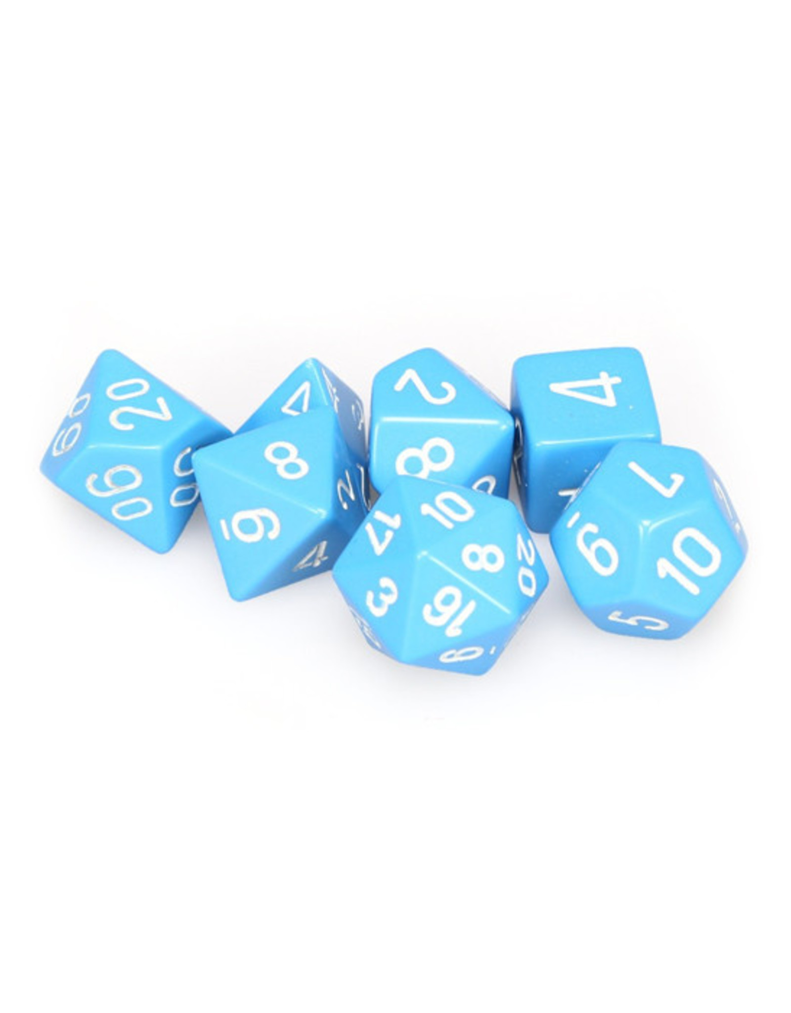 Chessex Chessex: Poly 7 Set - Opaque - Light Blue w/ White