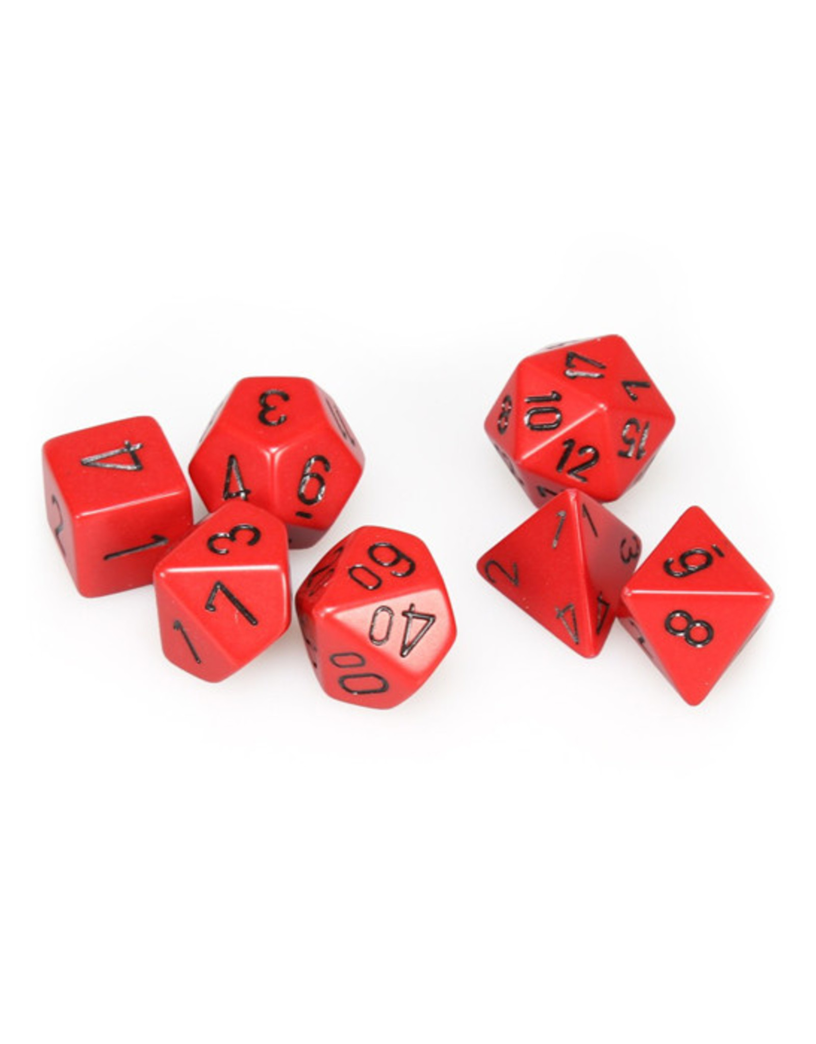 Chessex Chessex: Poly 7 Set - Opaque - Red w/ Black