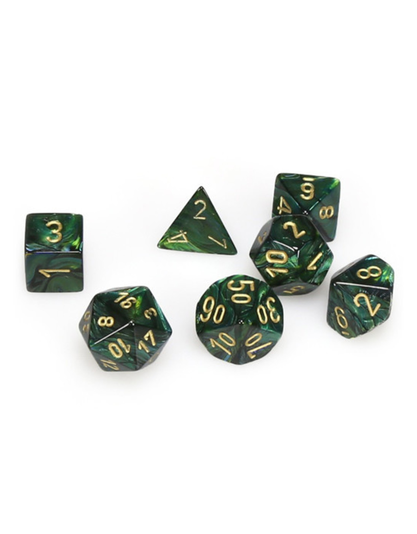 Chessex Chessex: Poly 7 Set - Scarab - Jade w/ Gold