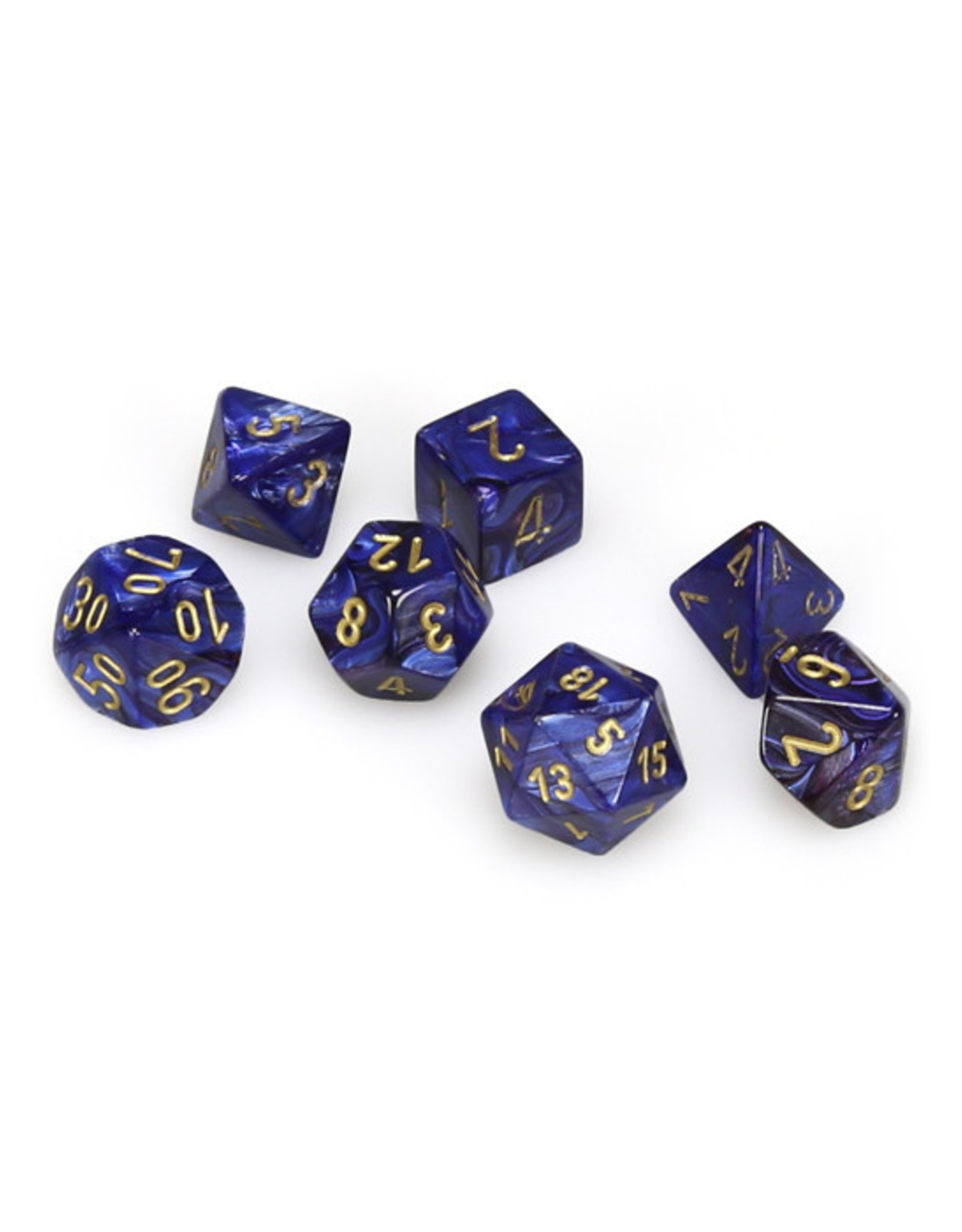Chessex Chessex: Poly 7 Set - Scarab - Royal Blue w/ Gold