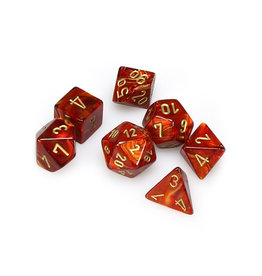 Chessex Chessex: Poly 7 Set - Scarab - Scarlet w/ Gold
