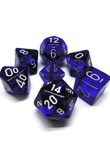 Chessex Chessex: Poly 7 Set - Translucent - Blue w/ White