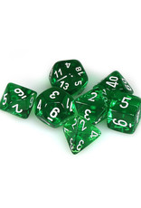 Chessex Chessex: Poly 7 Set - Translucent - Green w/ White