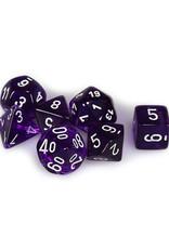 Chessex Chessex: Poly 7 Set - Translucent - Purple w/ White