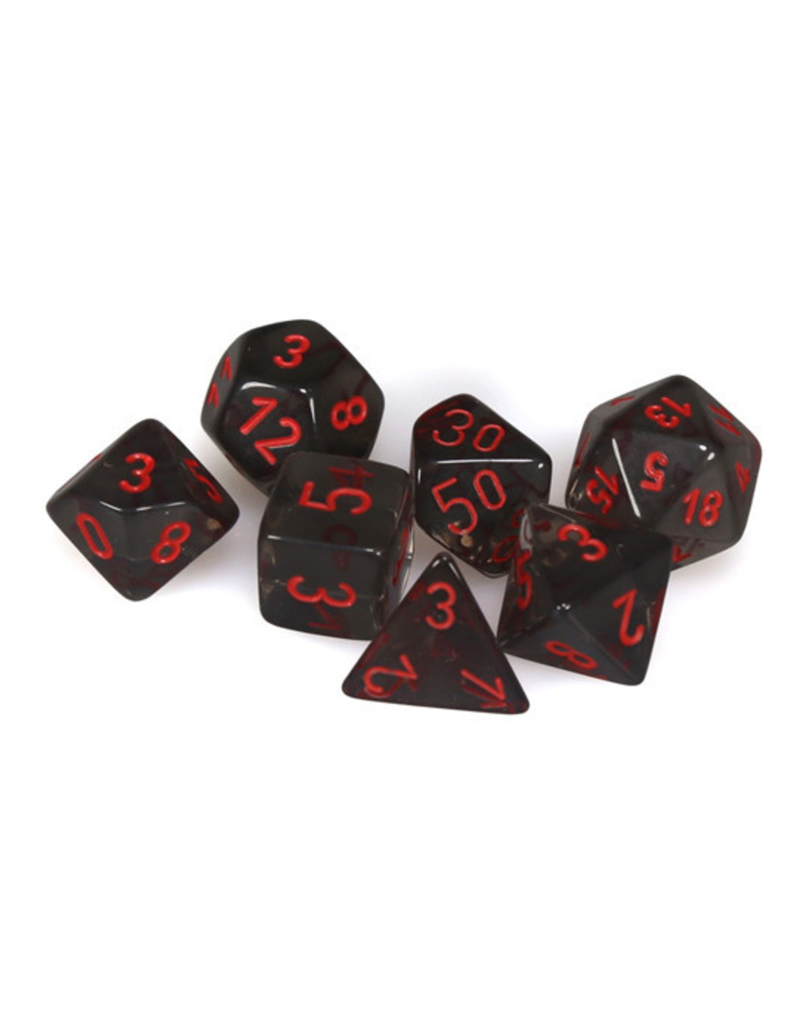 Chessex Chessex: Poly 7 Set - Translucent - Smoke w/ Red