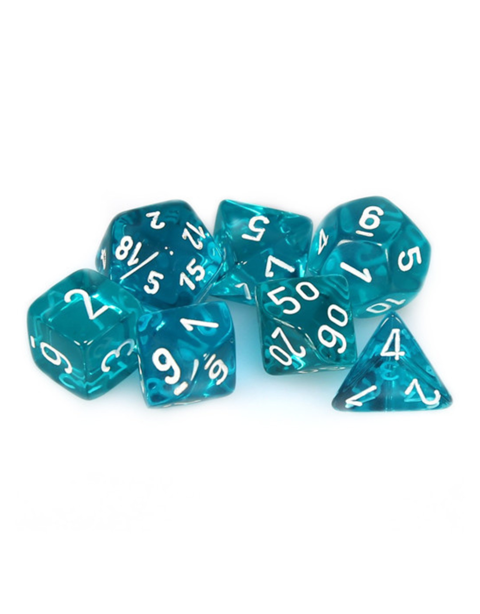Chessex Chessex: Poly 7 Set - Translucent - Teal w/ White