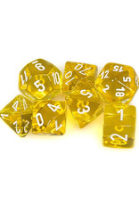 Chessex Chessex: Poly 7 Set - Translucent - Yellow w/ White